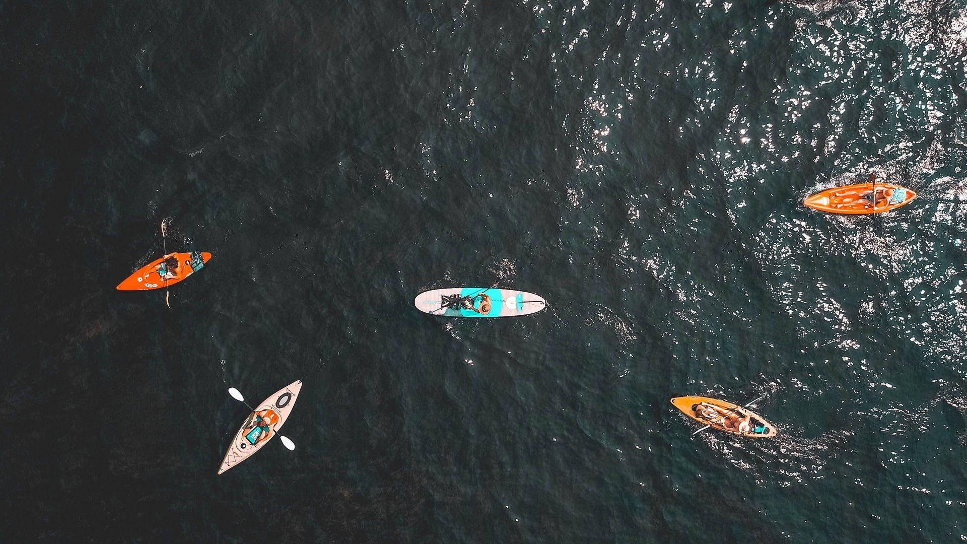 Aerial photo of kayaks